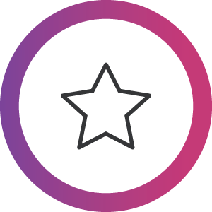 Next-level Quality, black star in pink-purple gradient circle