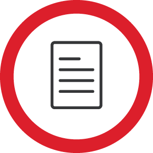 1 Page Guide. Document icon within red a red circle
