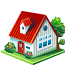 home with red roof icon
