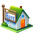 home with a rent sign icon