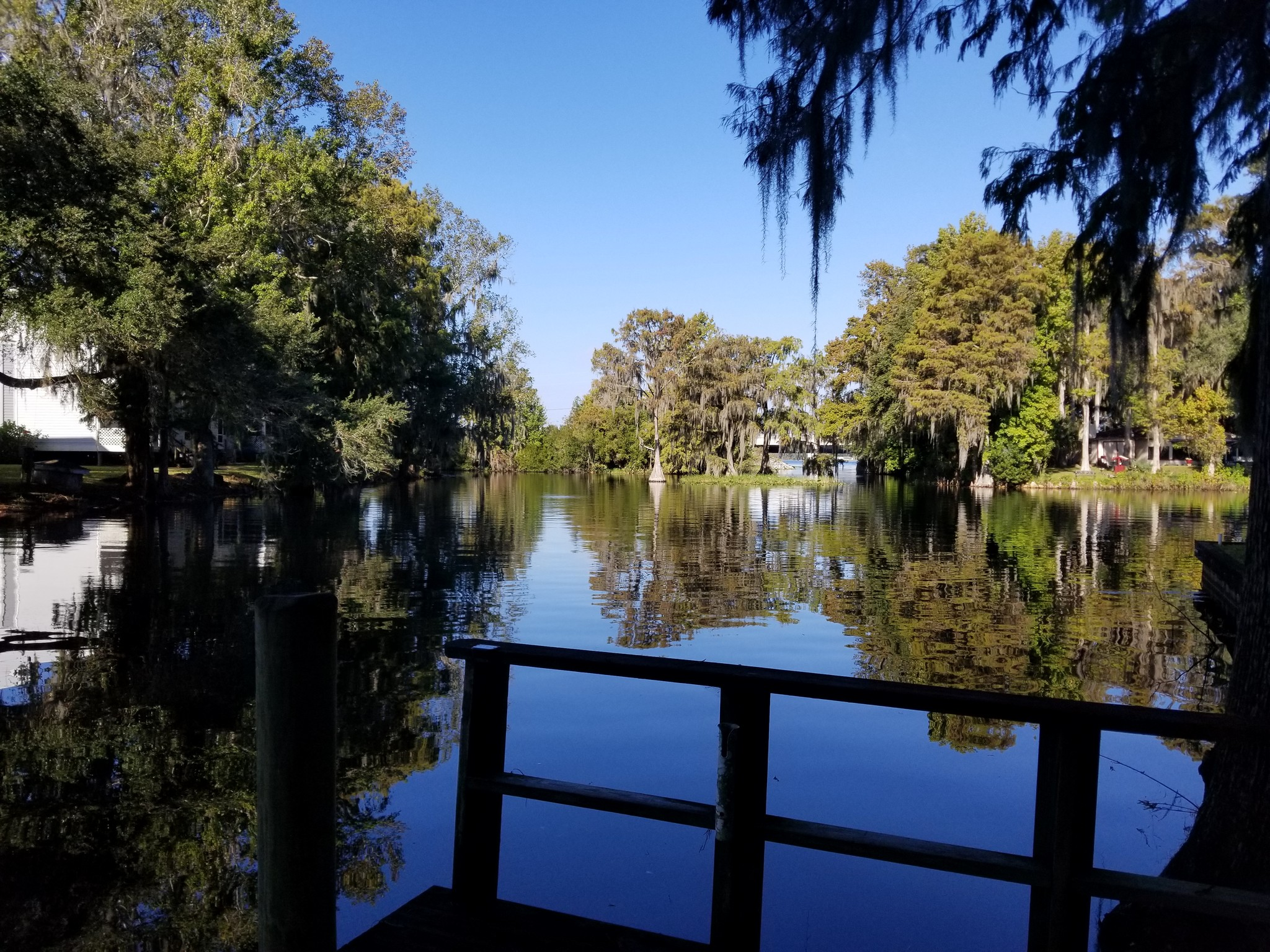 Photo taken from dock on the property of the water with lots of trees on water's edge and some neighboring houses visible