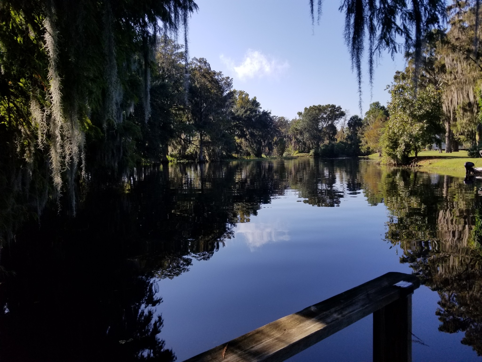 Photo taken from dock on the property of the water lined with trees and blue skies