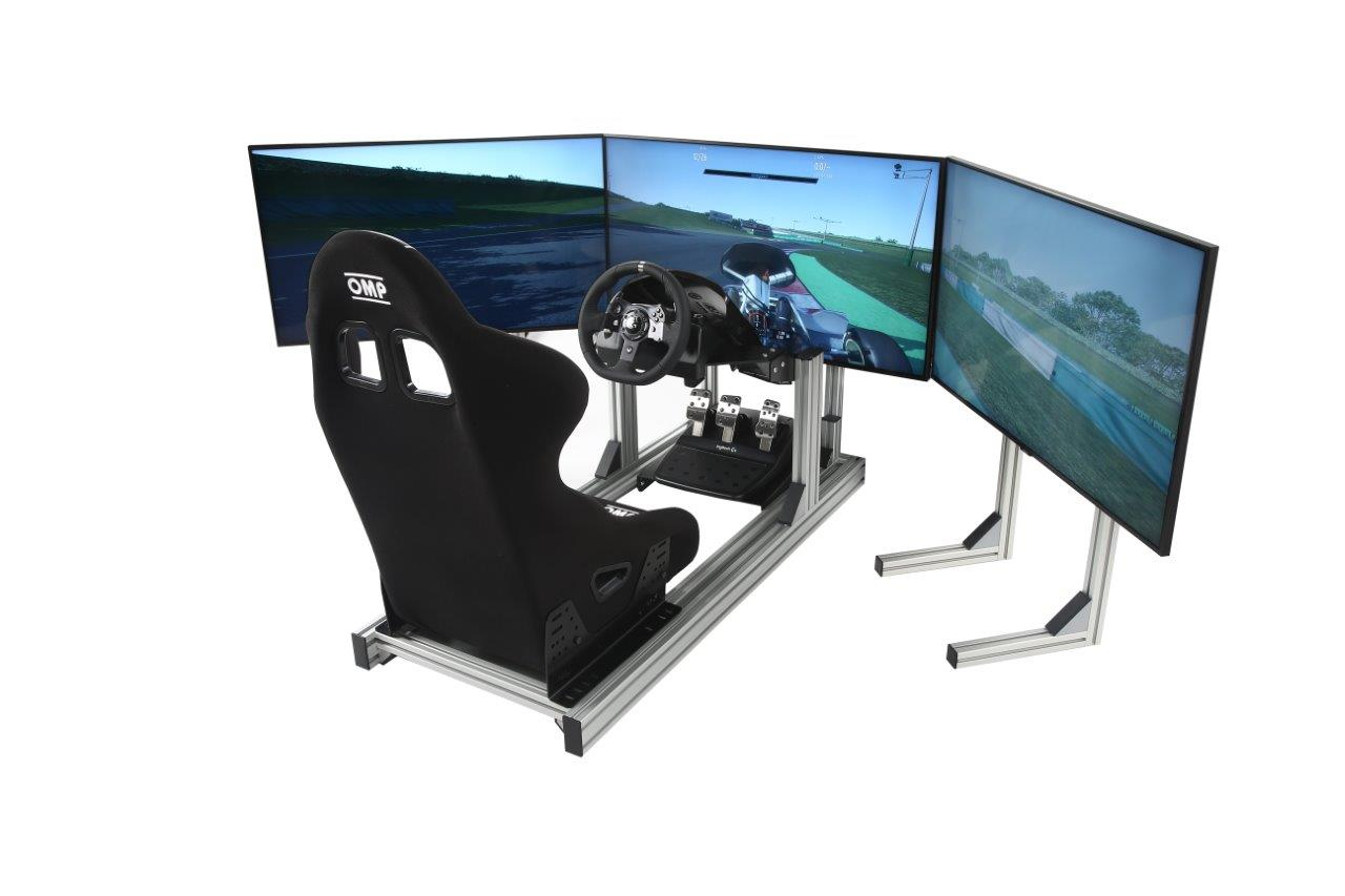esports-simulator-triple-stands-bucket-seat-logitech-g920-triple-43-inch-4k-hd-screens