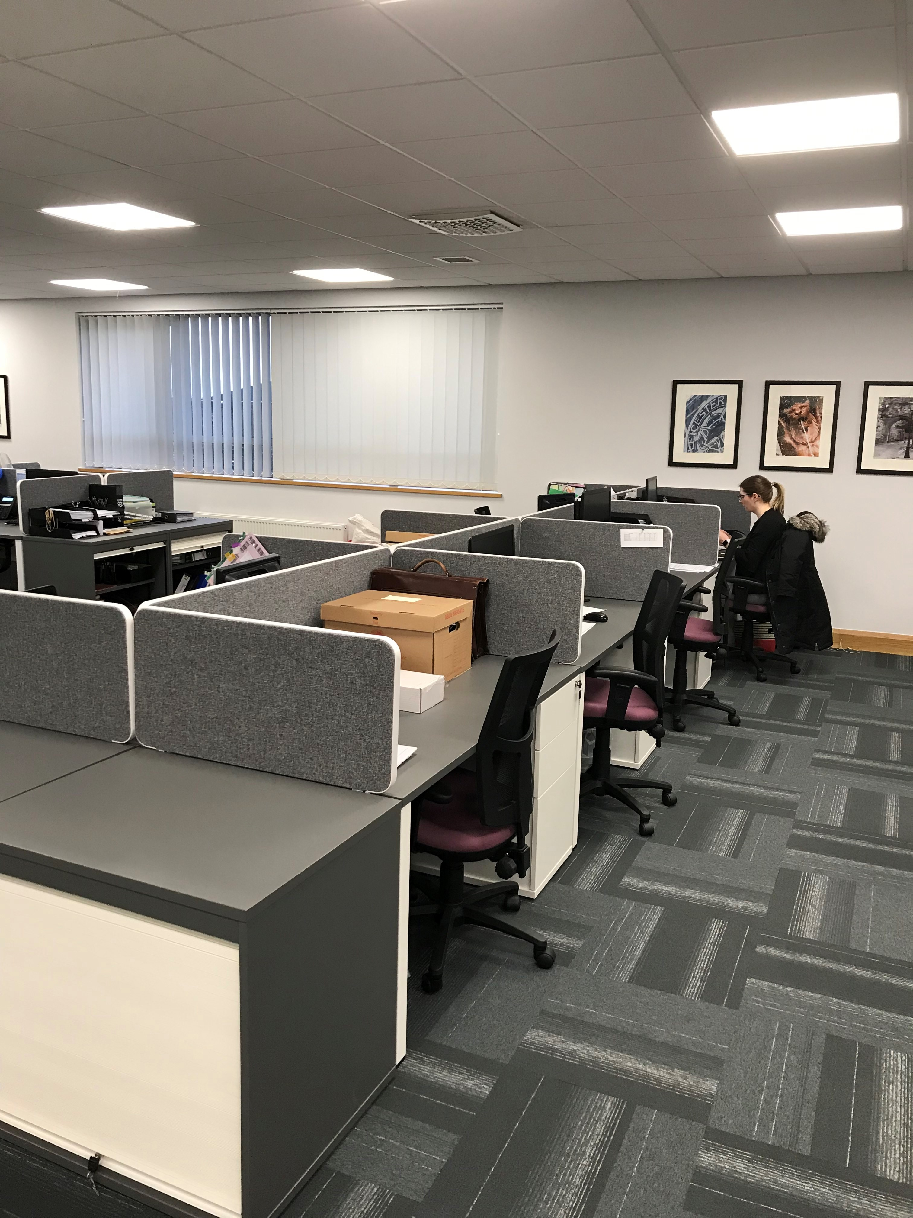 6 new desks with dividers in place of where the filing cabinets stood, Young female with pony tail working on end desk