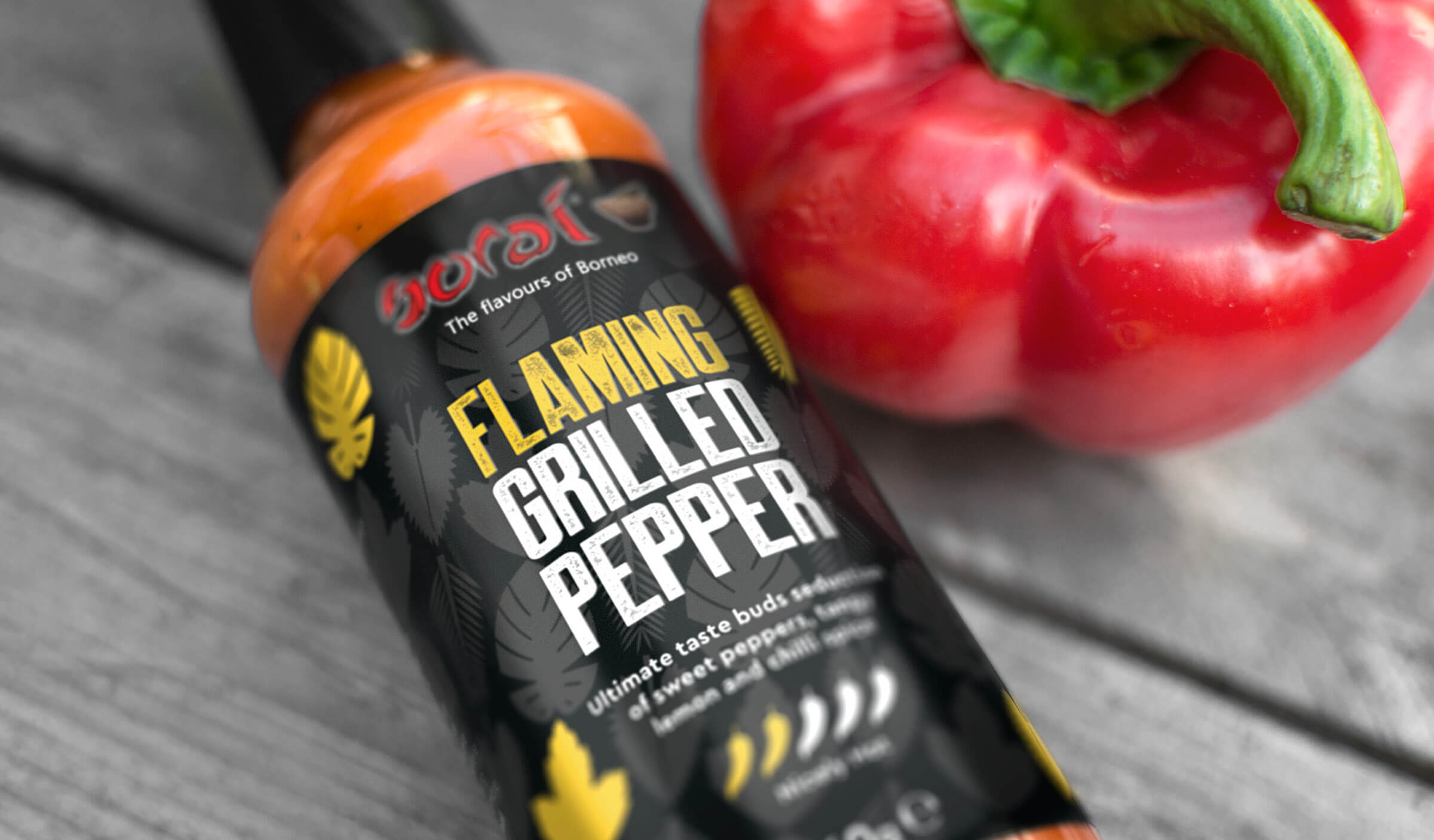 Hot pepper sauce packaging design