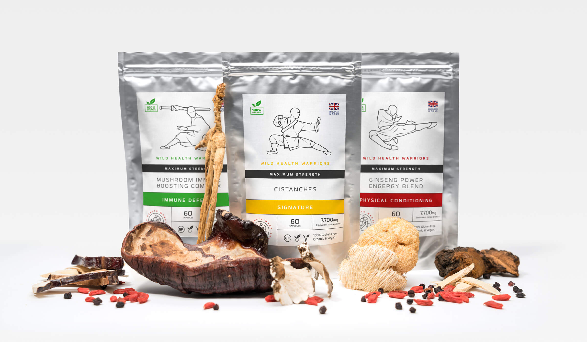 Illustrated branding and packaging design for chinese inspired health supplements manufacturer Wild Health Warriors