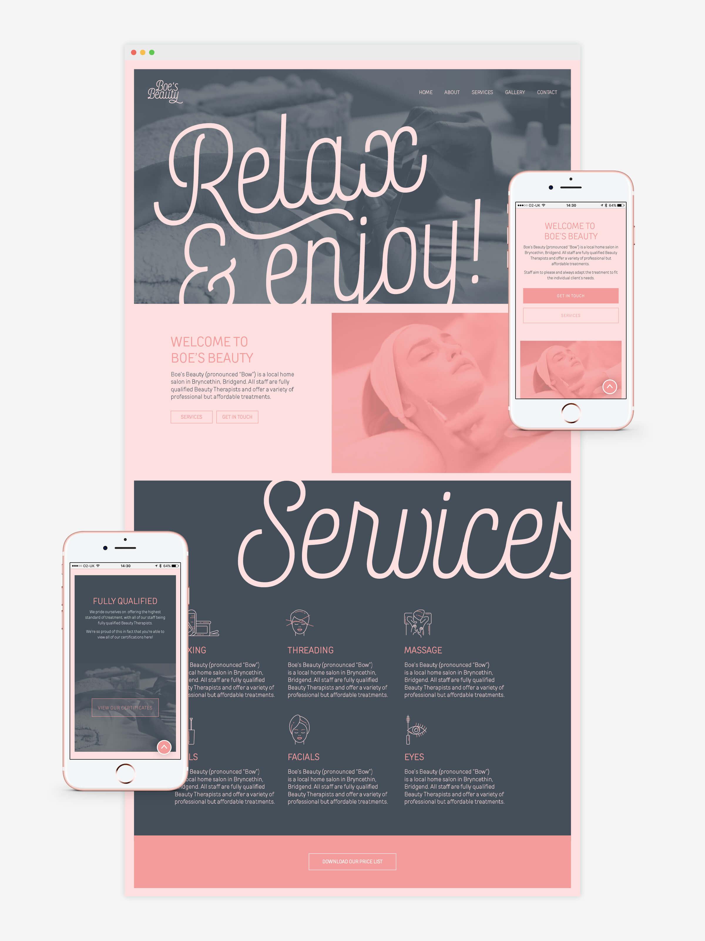 beauty salon responsive website homepage design