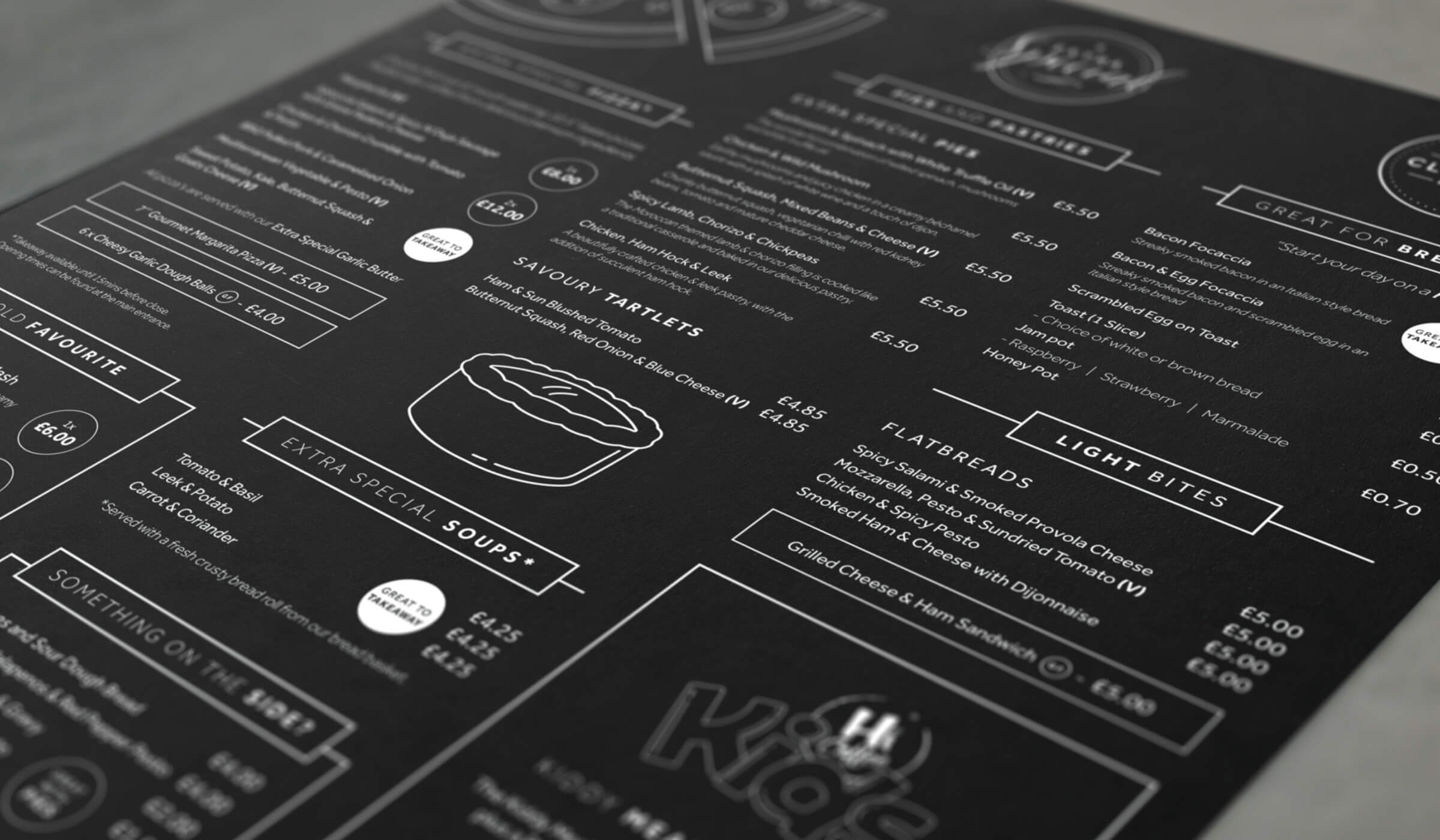 Illustrated coffee shop menu design