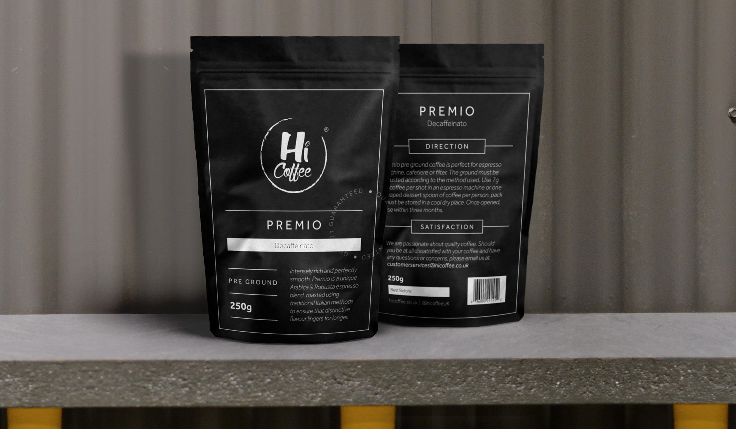 Packaging design for coffee shop own brand coffee blend