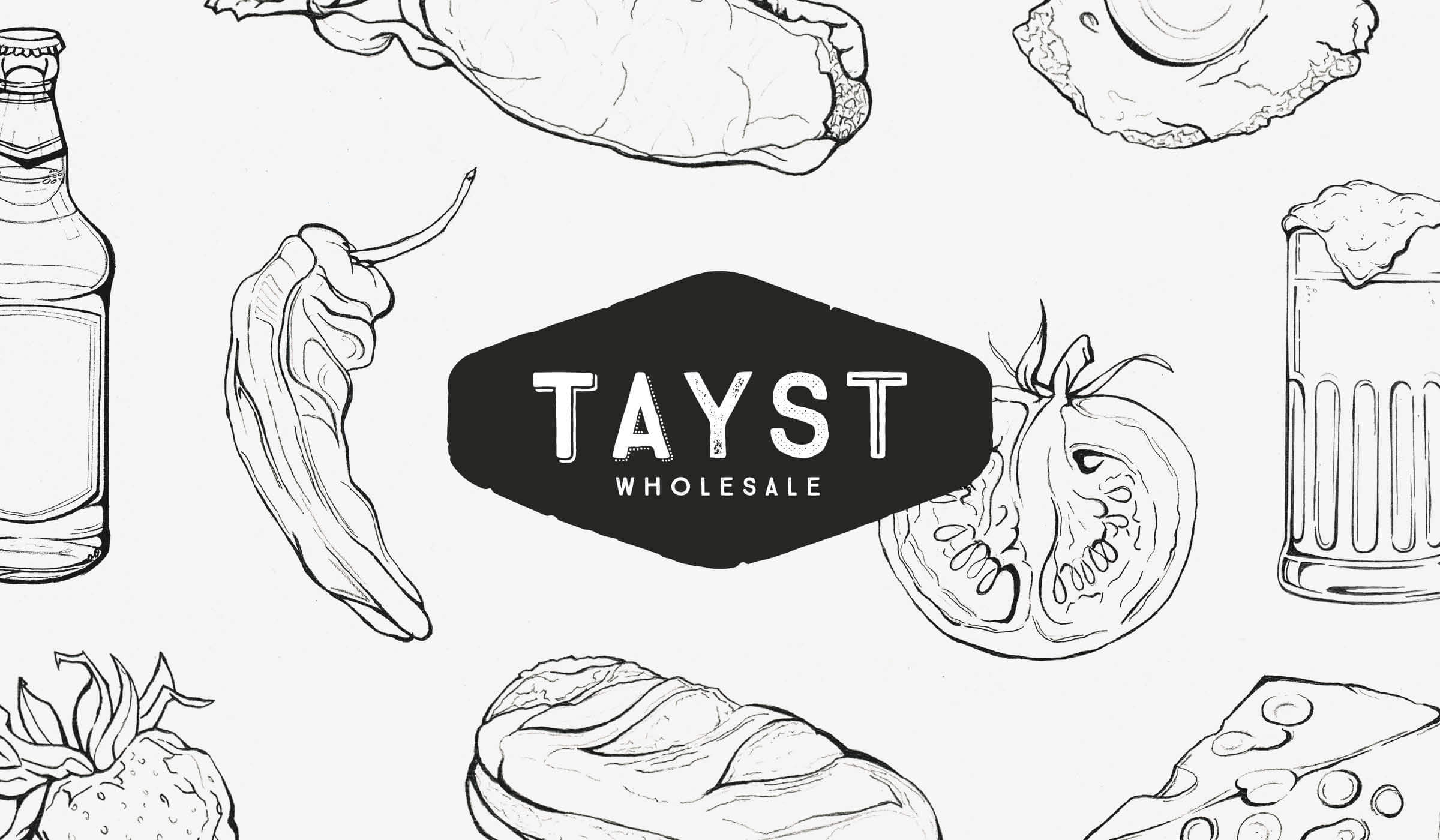 hand drawn illustrated brand identity for food & drink wholesaler