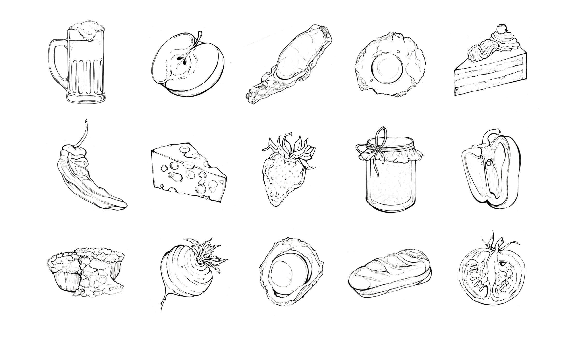 hand drawn illustrations of food and drink
