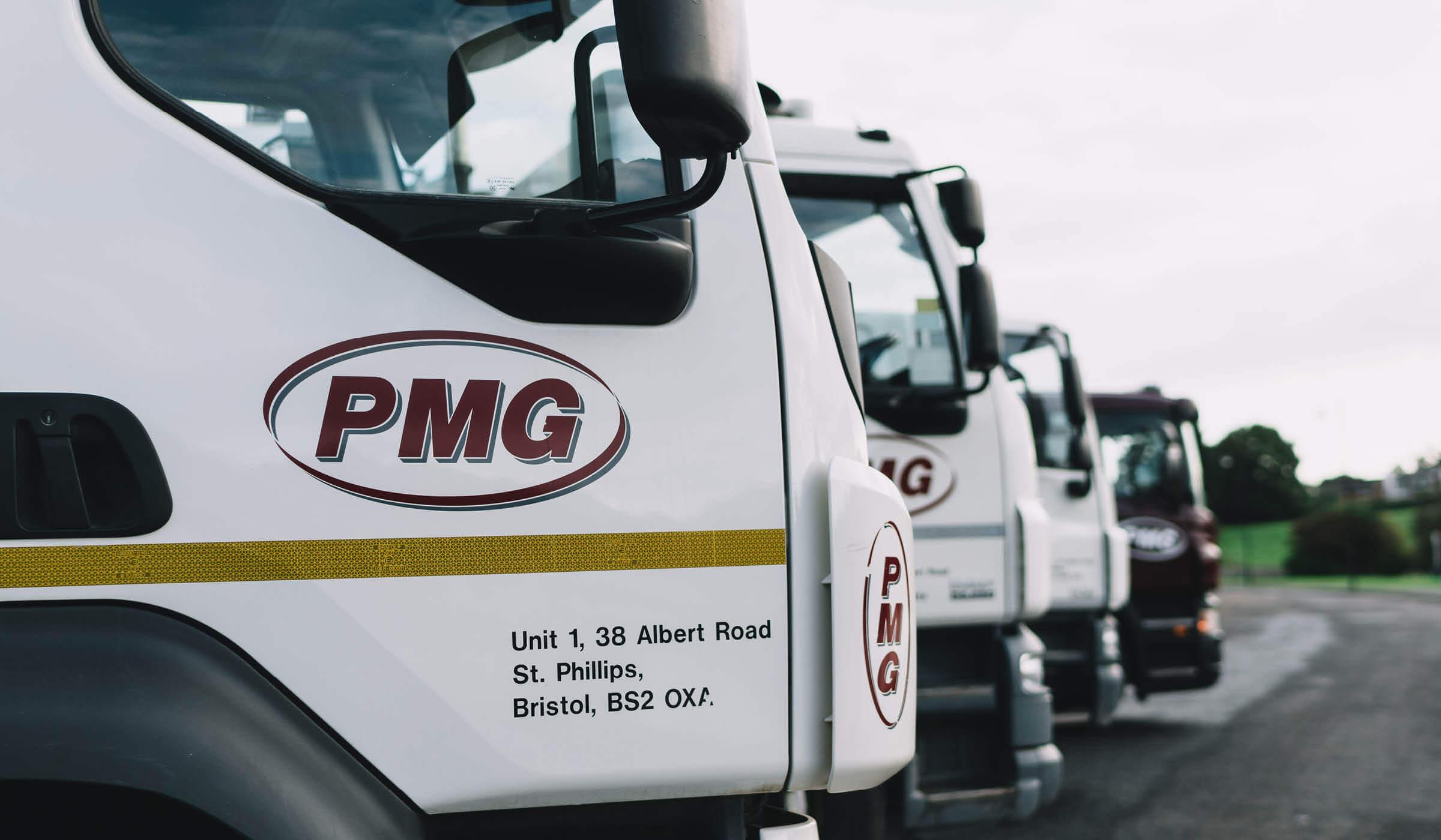 photograph of fleet of environmental services vehicles