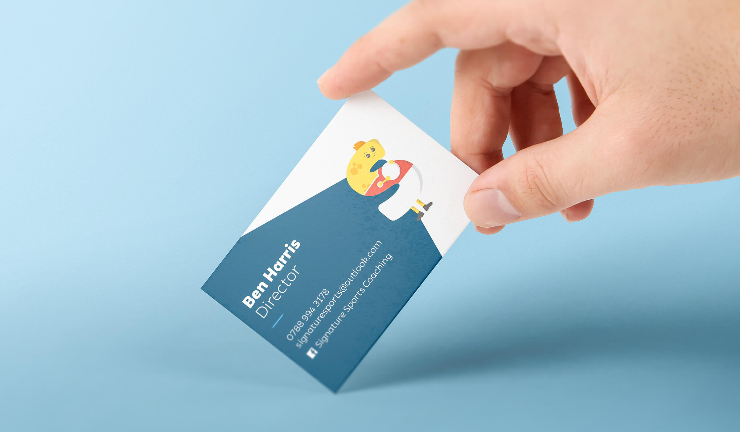 printed business card design for sports coach