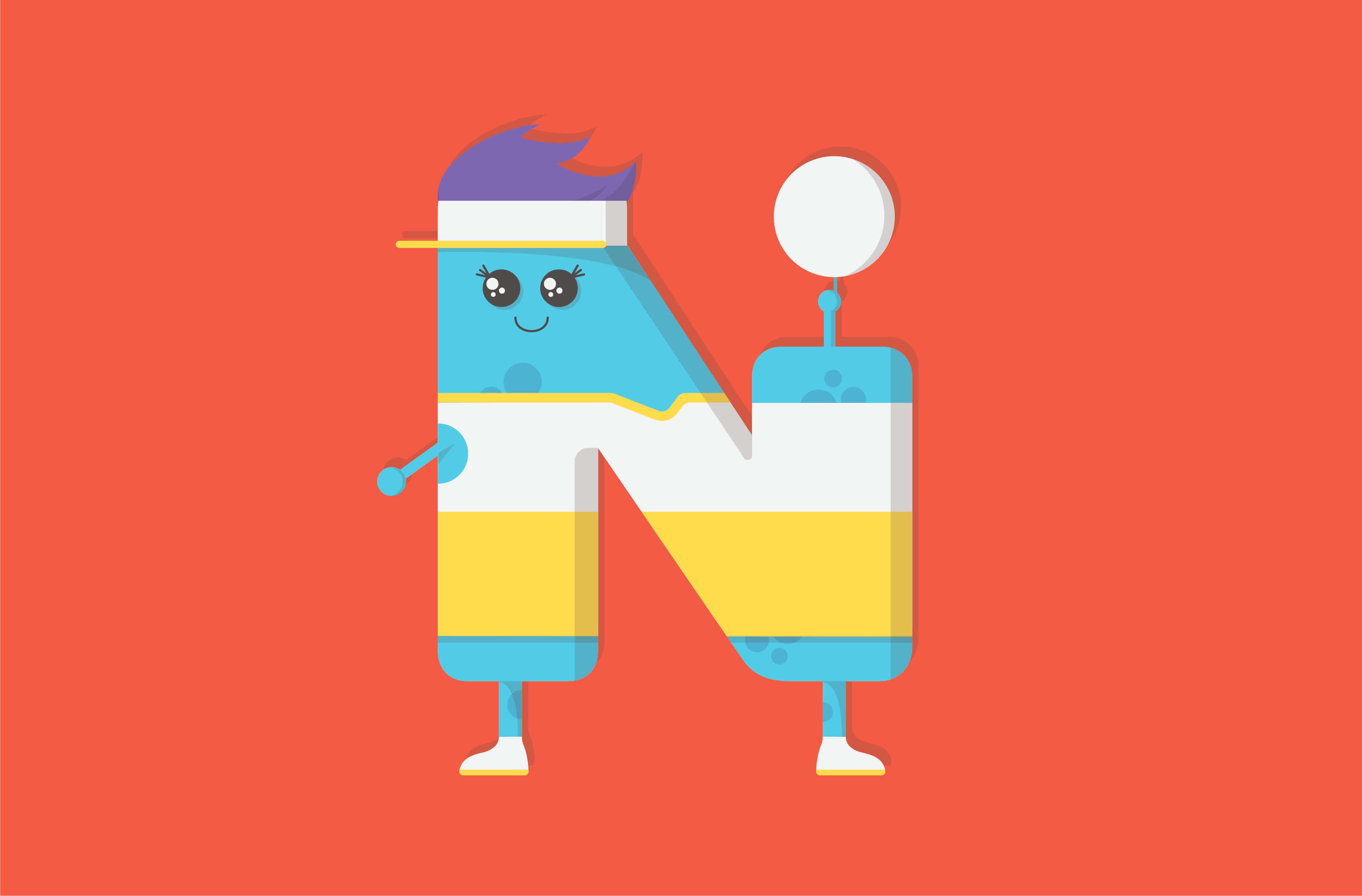 Netball monster character illustration