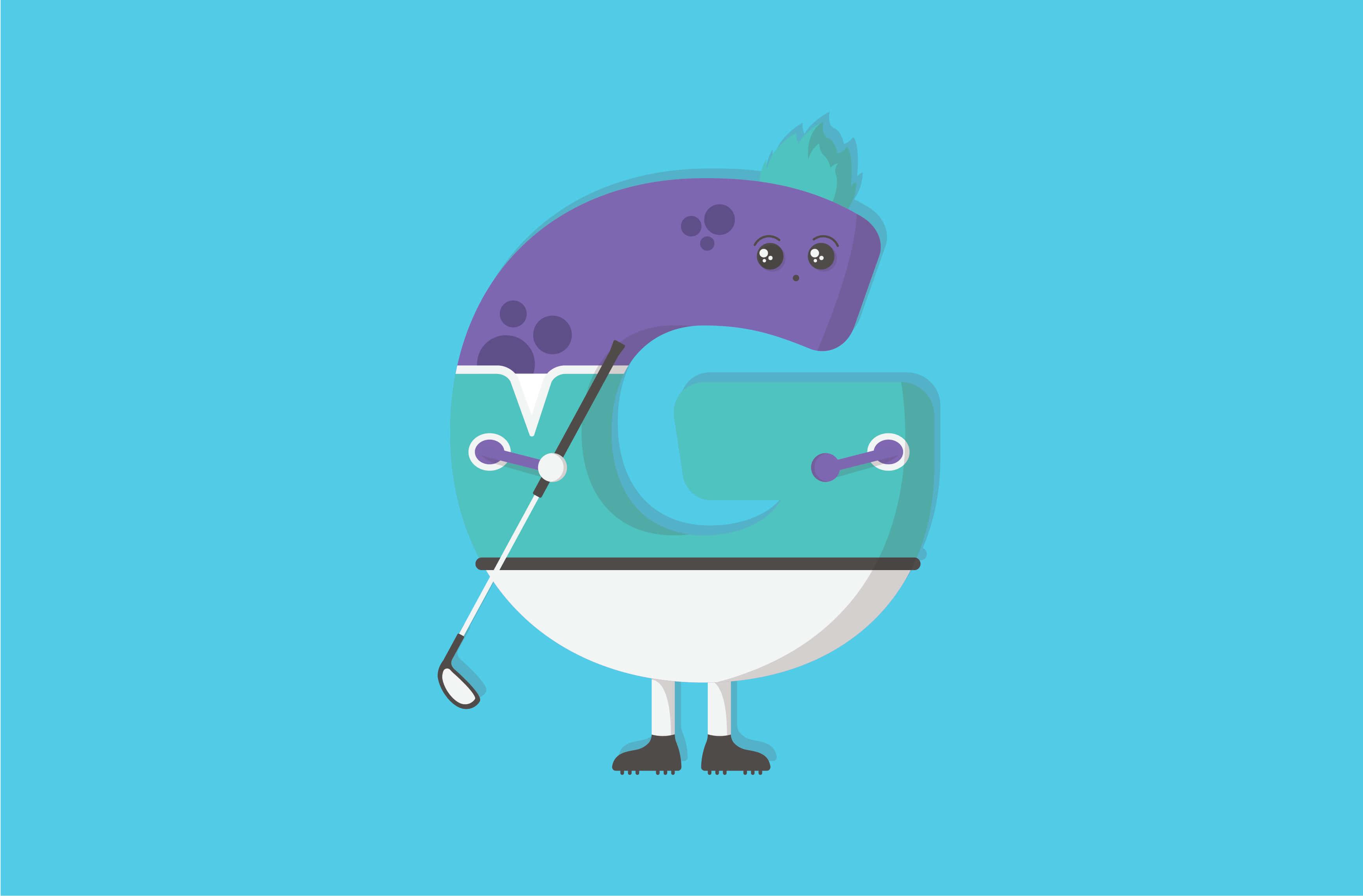 Golf monster character illustration