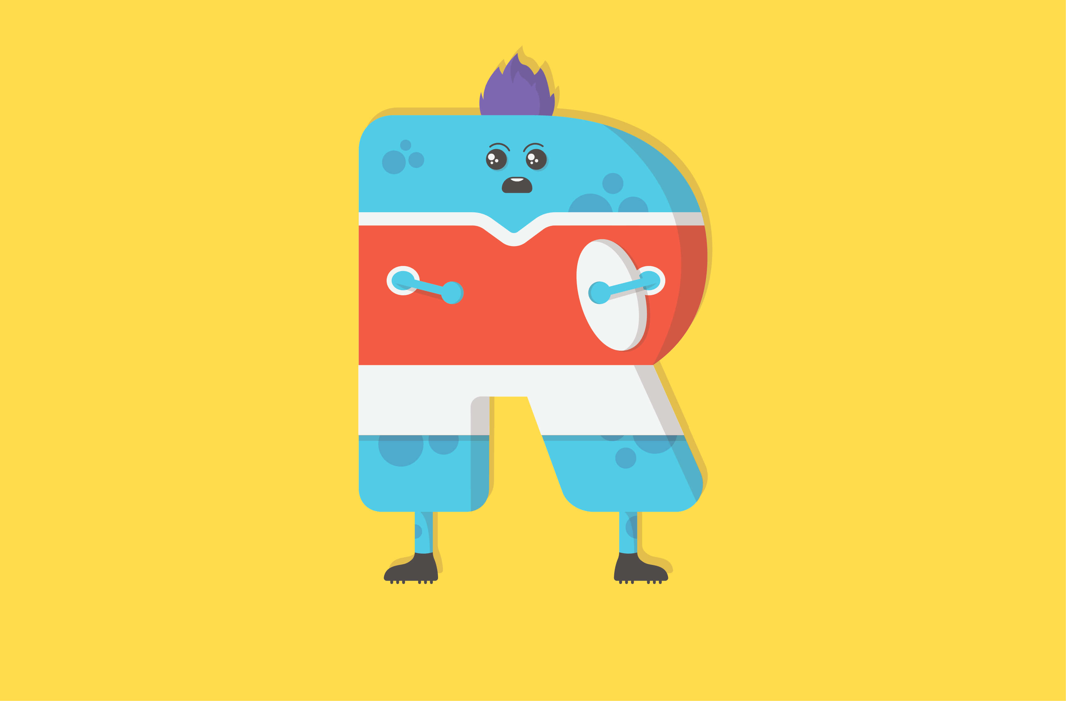 Rugby monster character illustration