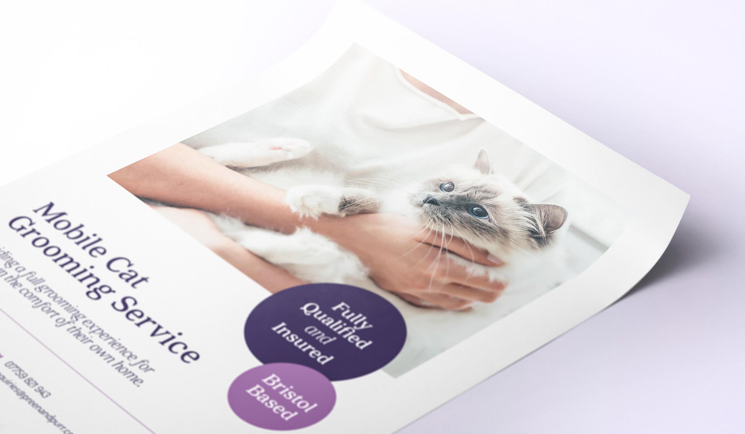 Cat groomer flyer design