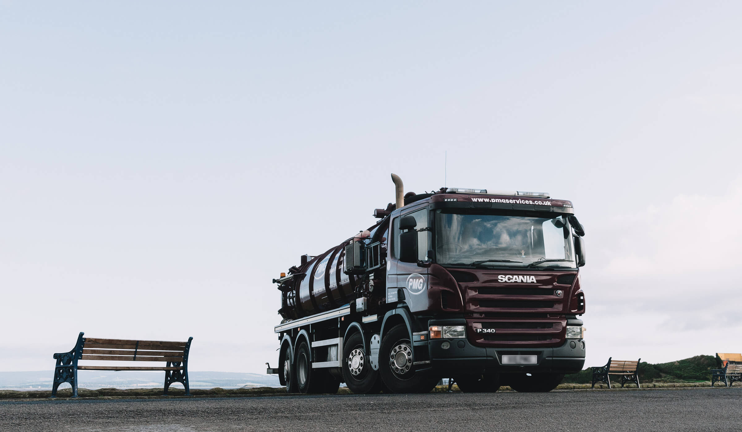 photograph of Bristol based environmental services vehicle by the beach