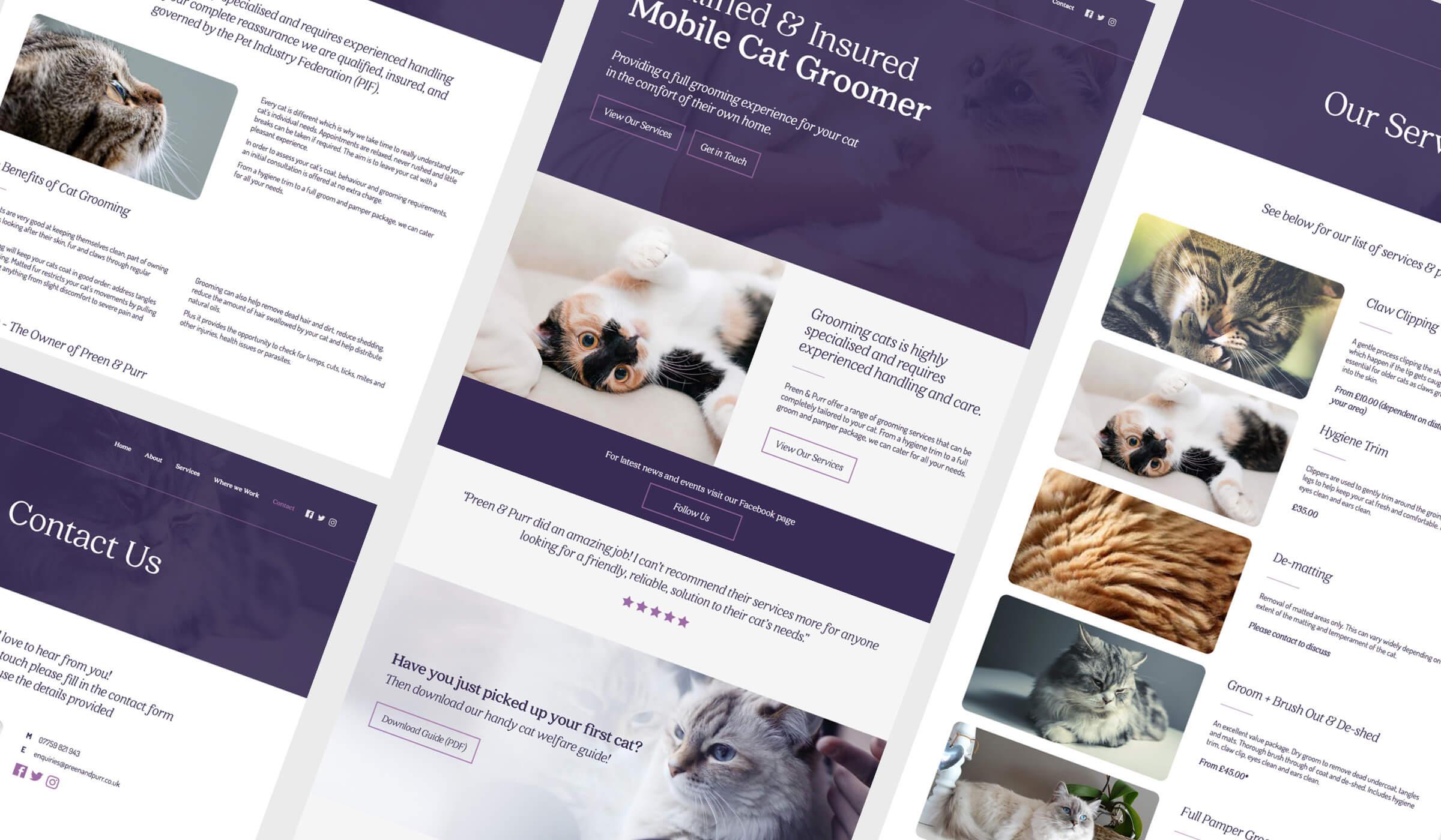 Pet grooming service website design