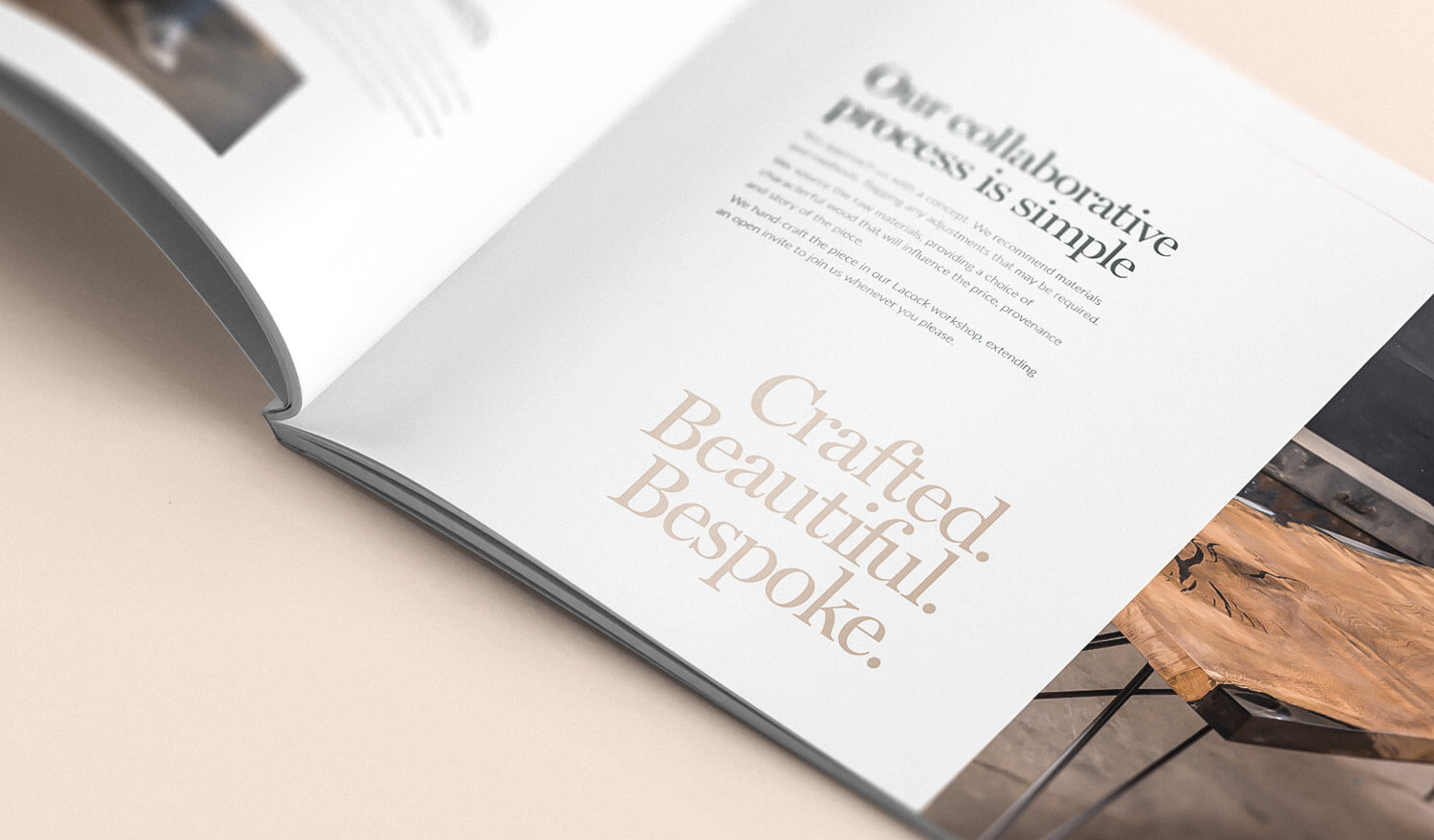 Furniture brochure design close up