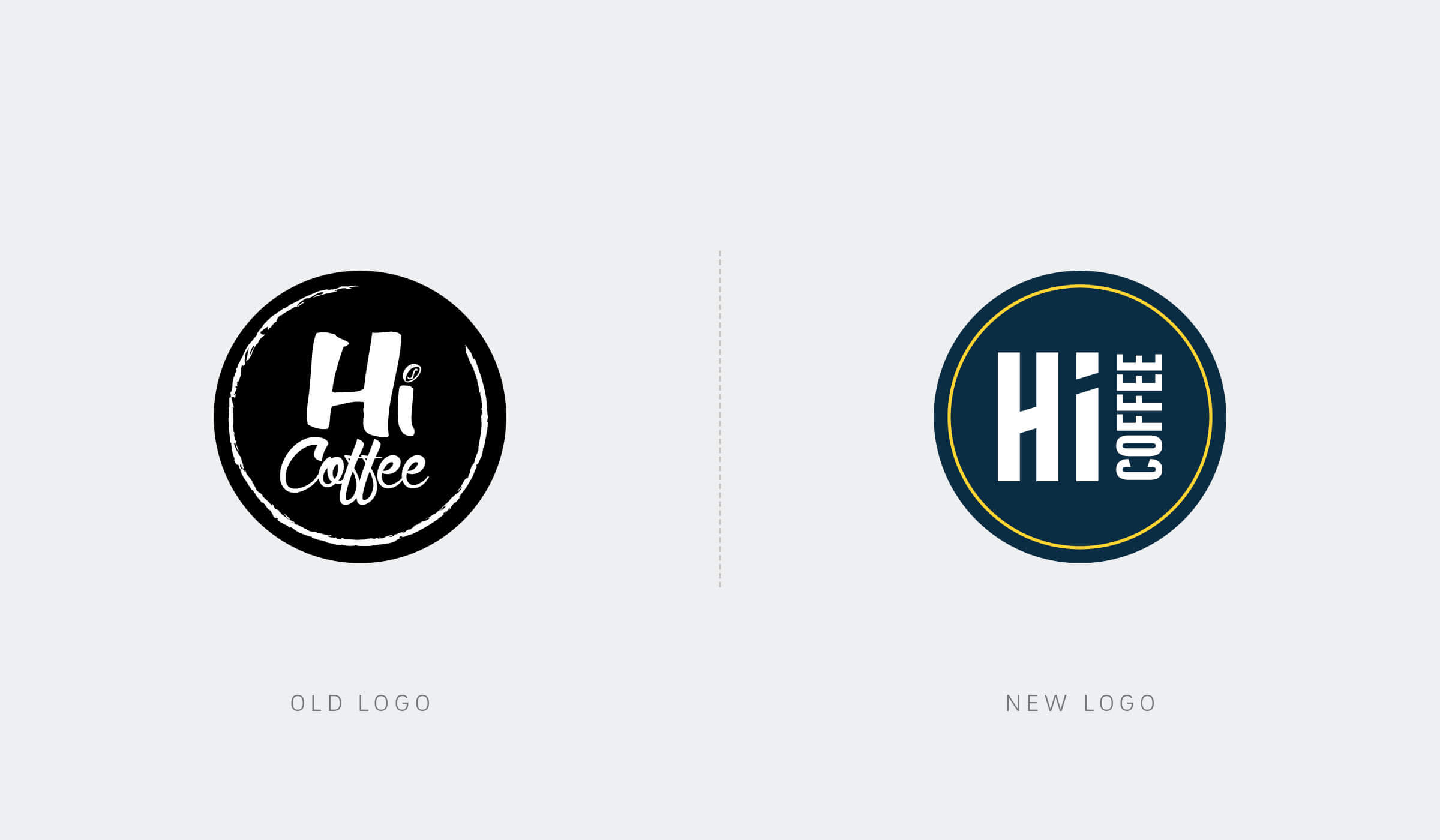 Hi Coffee logo design before/after