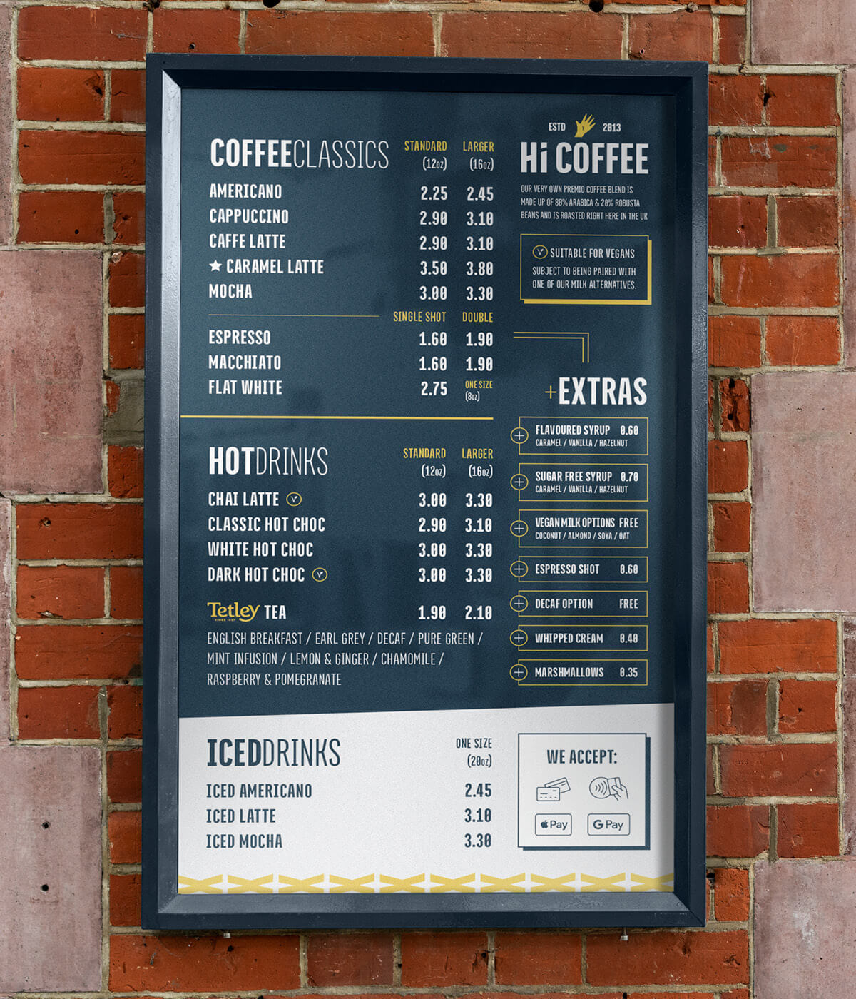 Hi Coffee menu design
