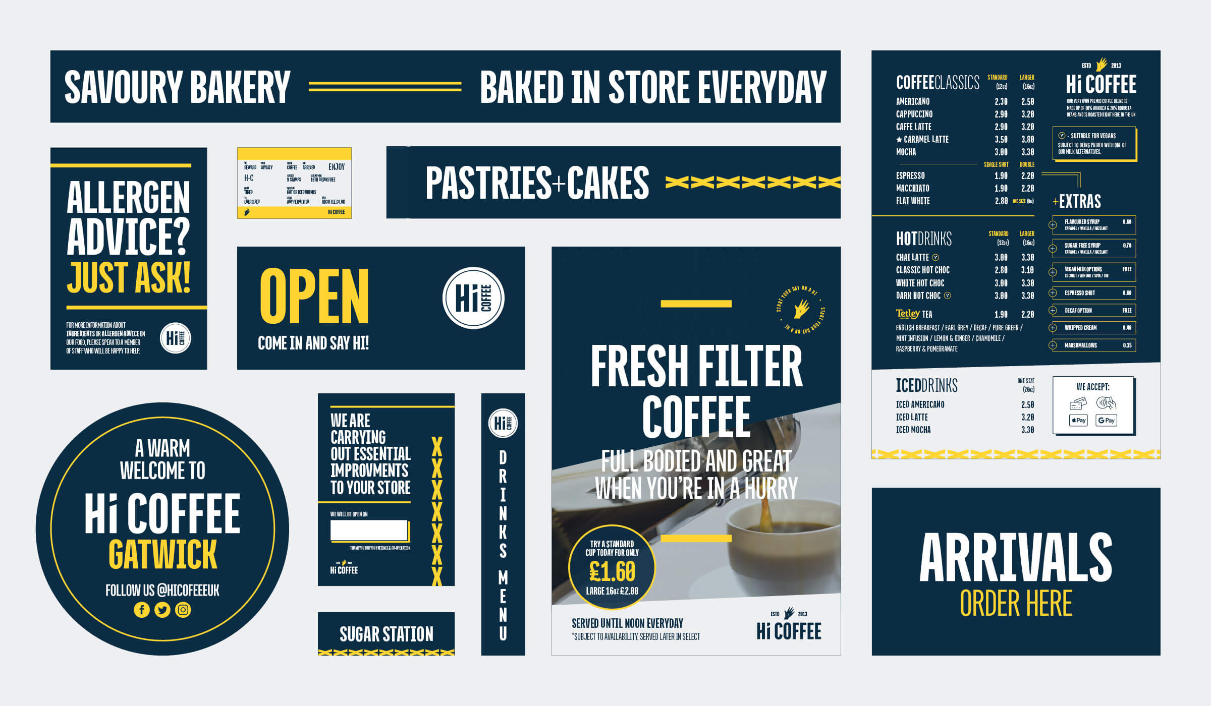 Graphic design items for coffee shop in South Wales