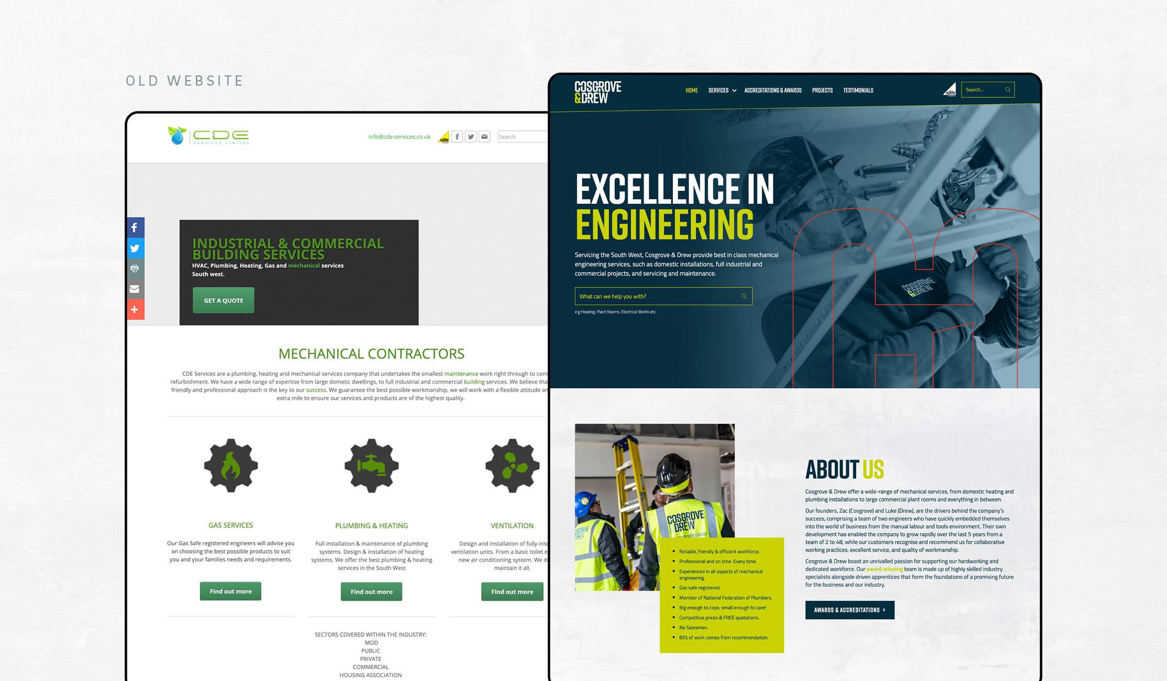 website design before/after