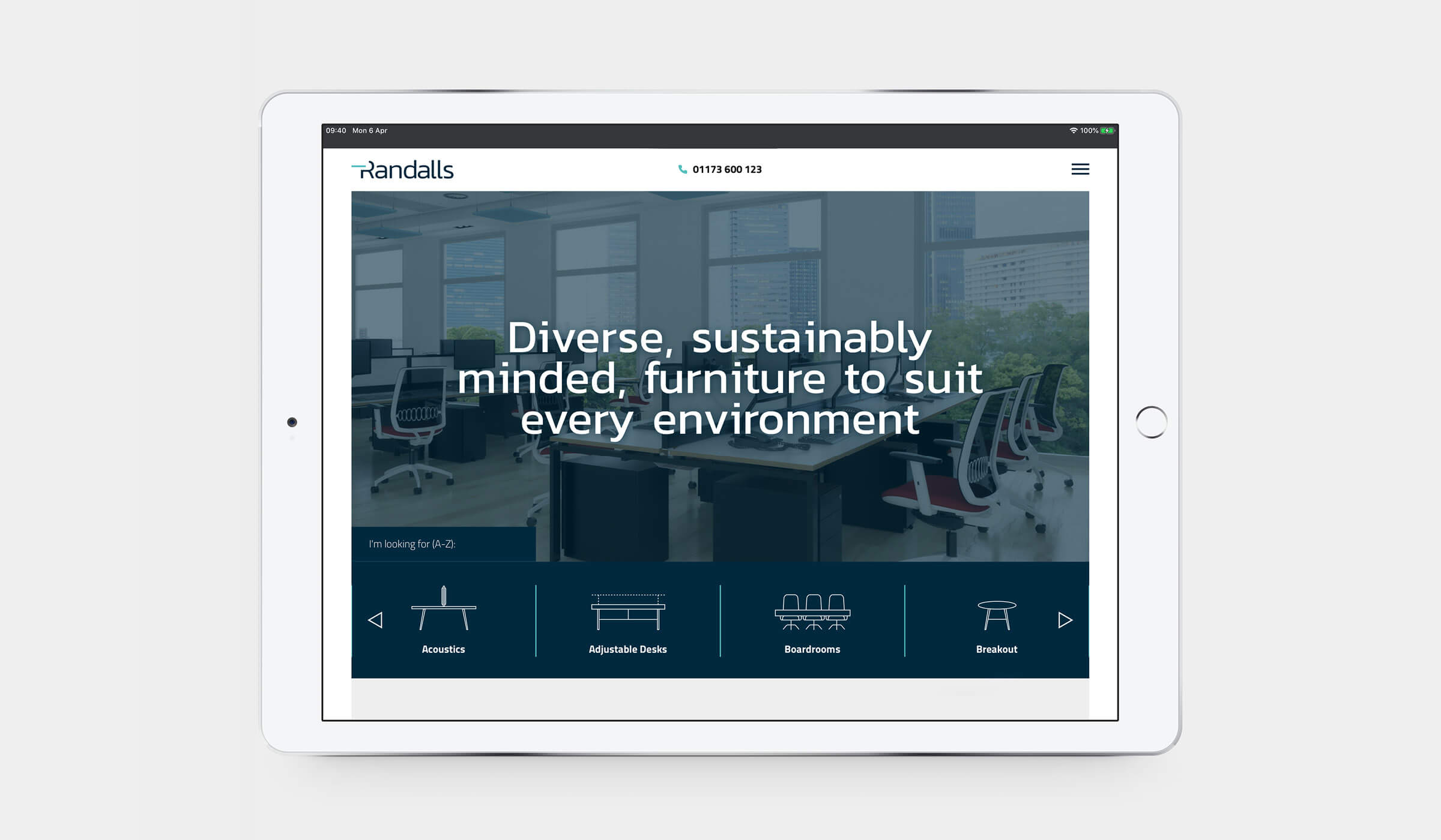 Randalls website ipad mockup