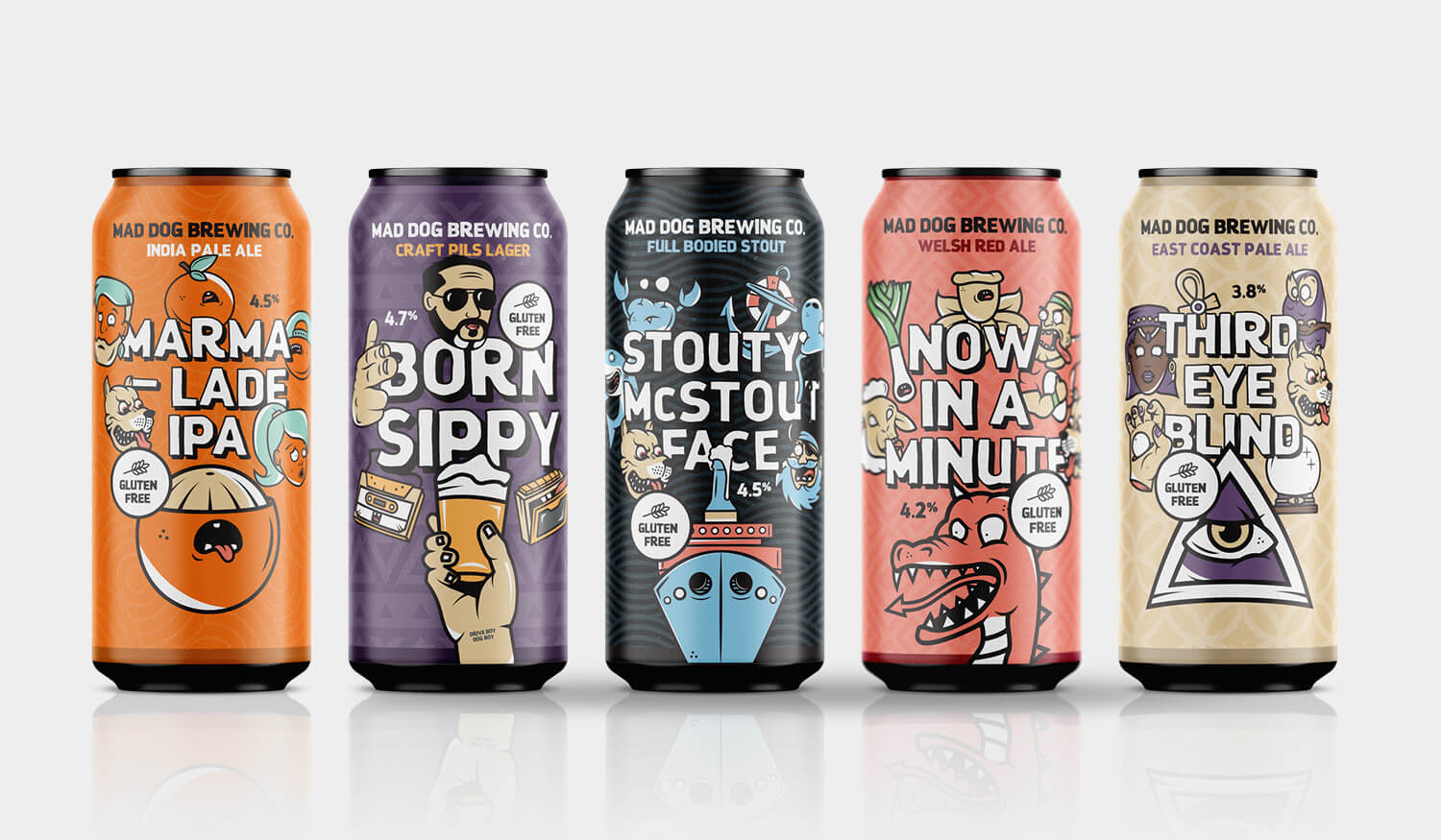 illustrated packaging design for brewery in south Wales