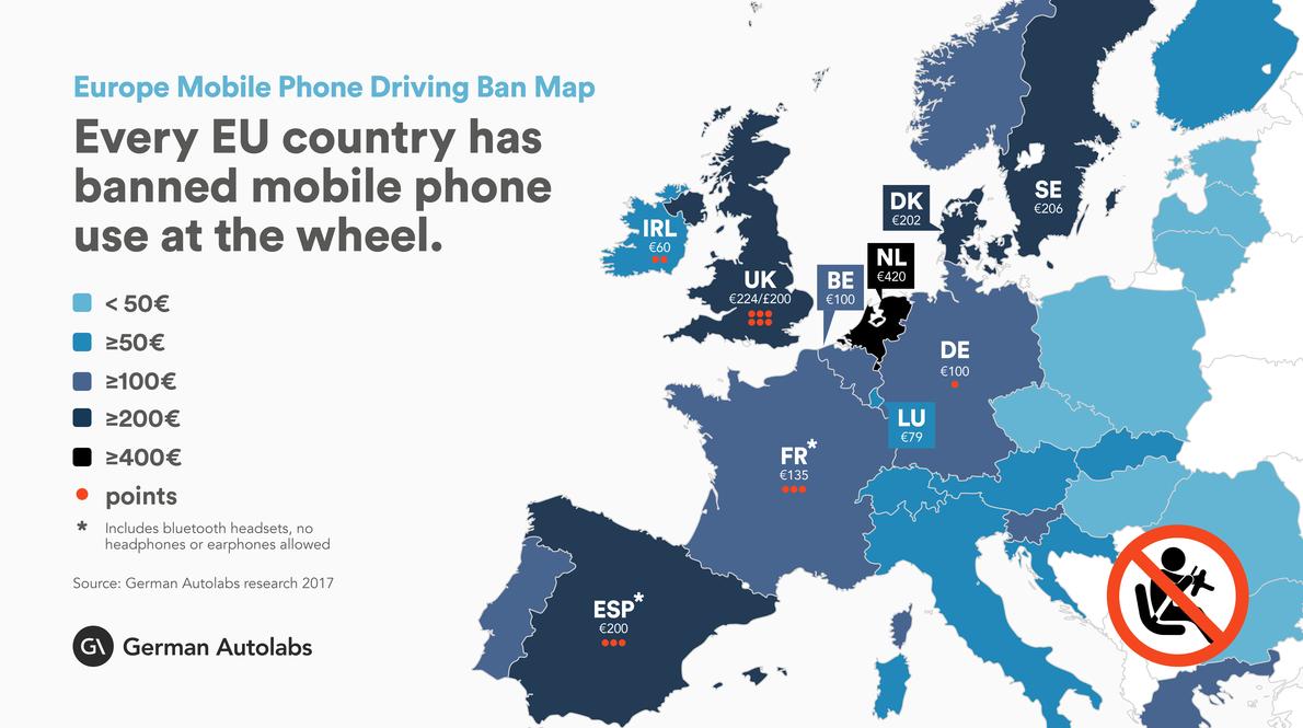 Europe Mobile Phone Driving Ban Map