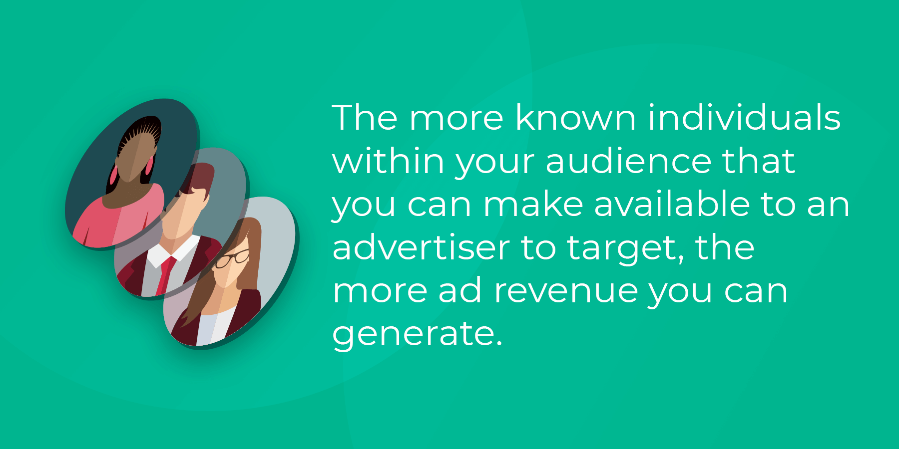 The more known individuals within your audience that you can make available to an advertiser to target, the more ad revenue you can generate.