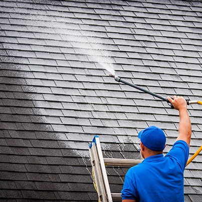 Soft washing a roof in Vancouver BC