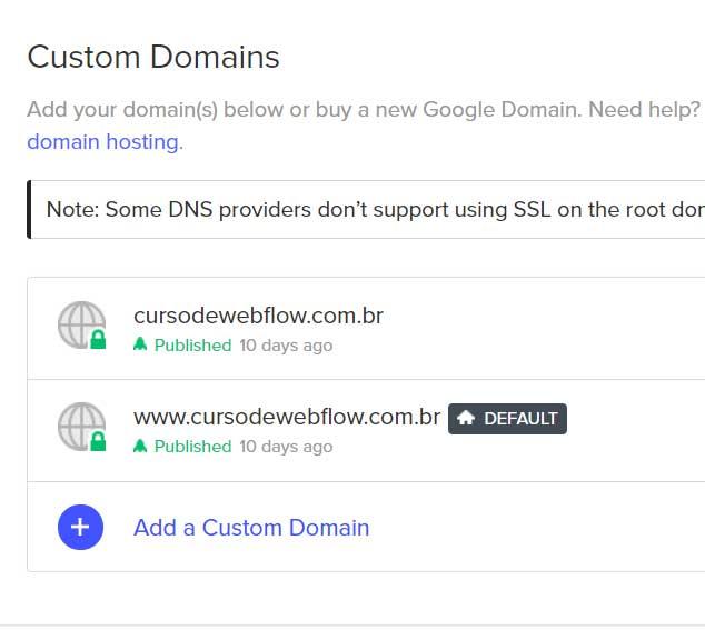 hospedagem dominio webflow