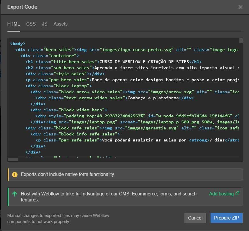 exportar codigo webflow