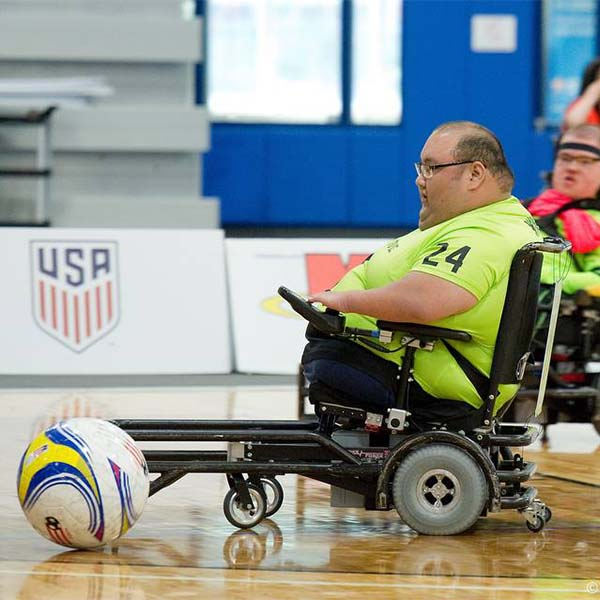 Battling for power soccer ball