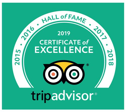 Hall of Fame 2019 Certificate of Excellence - TripAdvisor - 2015, 2016, 2017, 2018