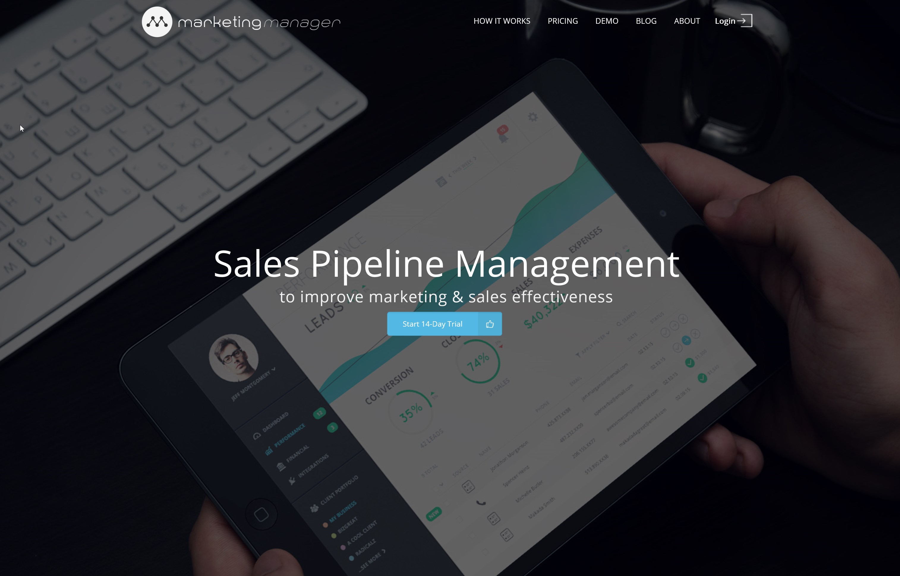 marketing manager homepage design
