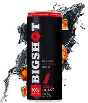 Photo of a Bigshot Cola Blast Can with a water splash in the background
