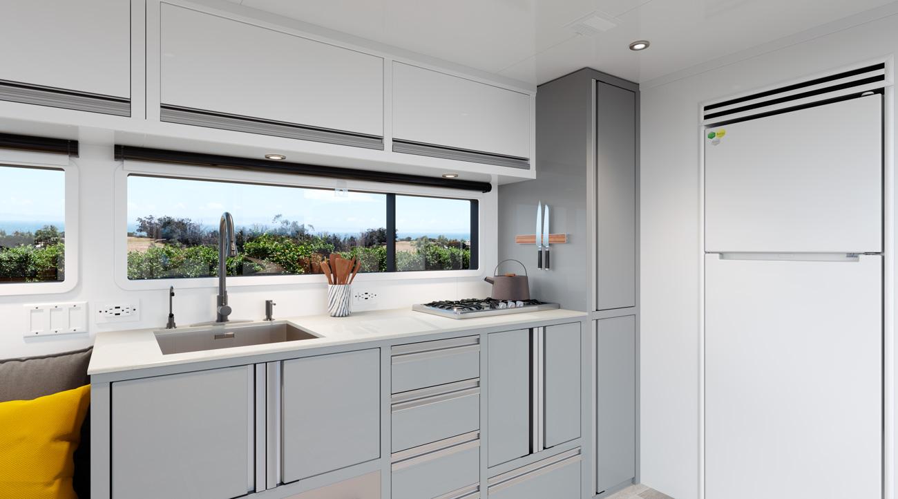 full kitchen in travel trailer