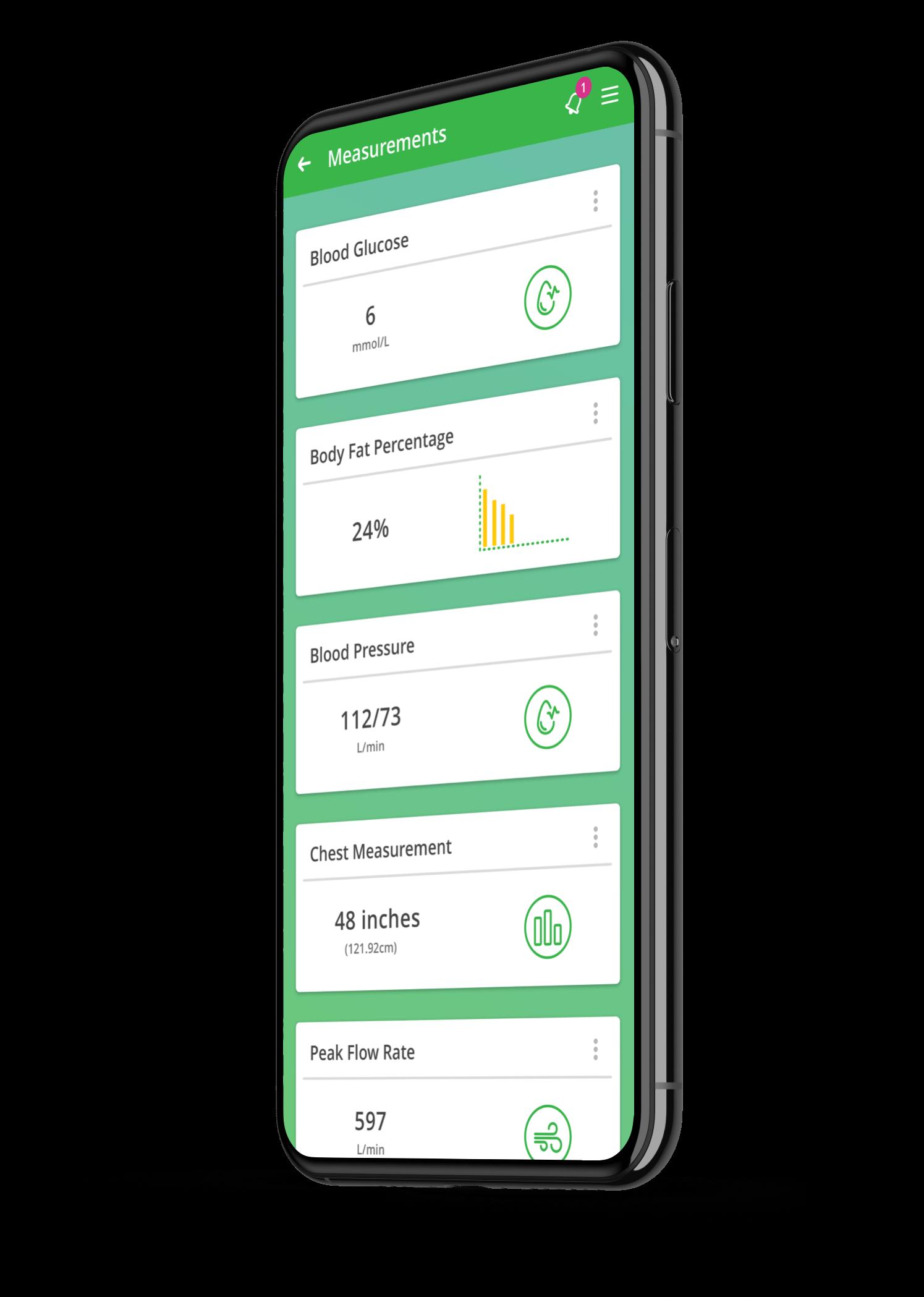App screenshot of tracked measurements