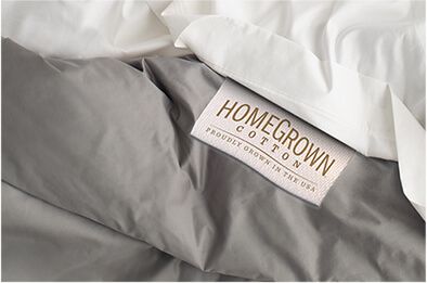 HomeGrown Cotton tag on sheets
