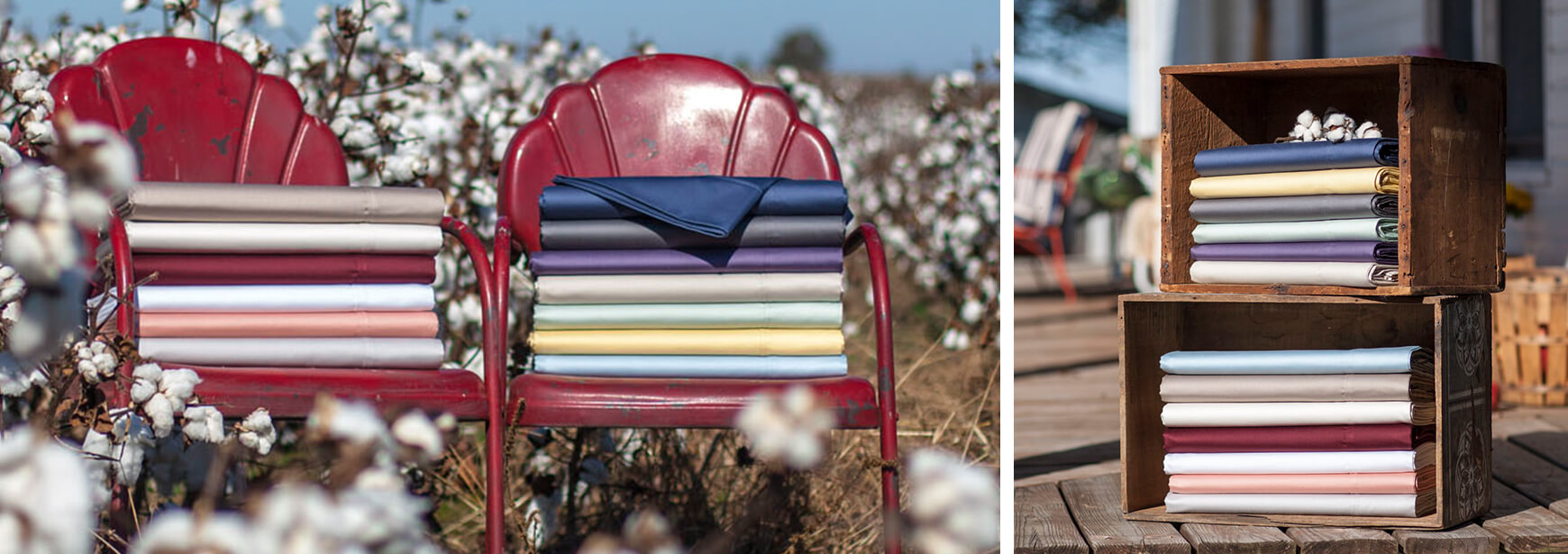 Sheets on chairs in a cotton field. Sheets in wooden crates on a porch.