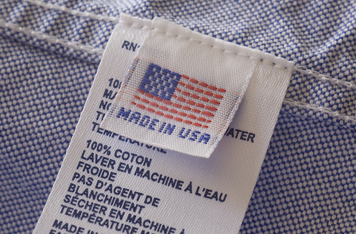 Made in USA clothing tag