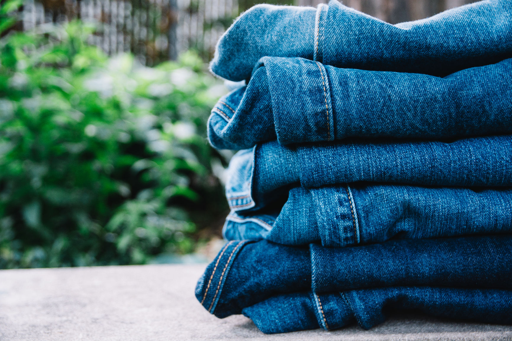 Denim jeans stacked