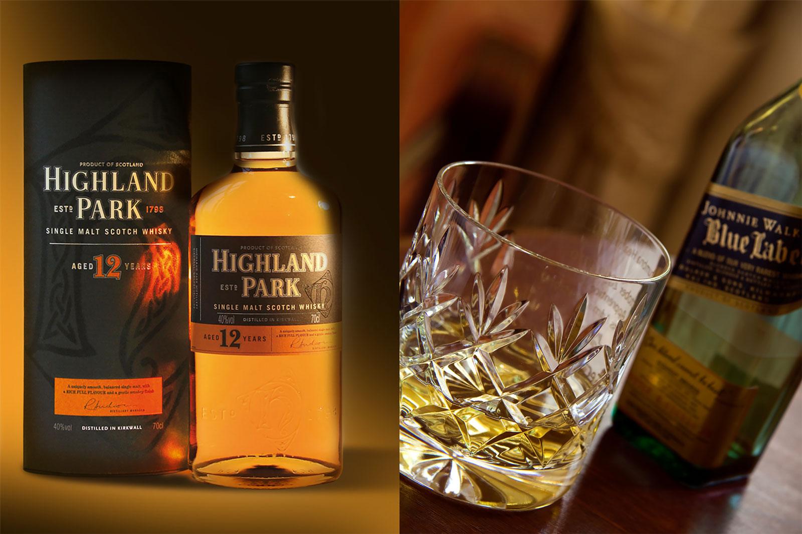 Highland Park Whiskey & Johnnie Walker Blue Label