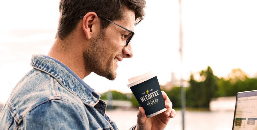 Man Drinking Hi Coffee