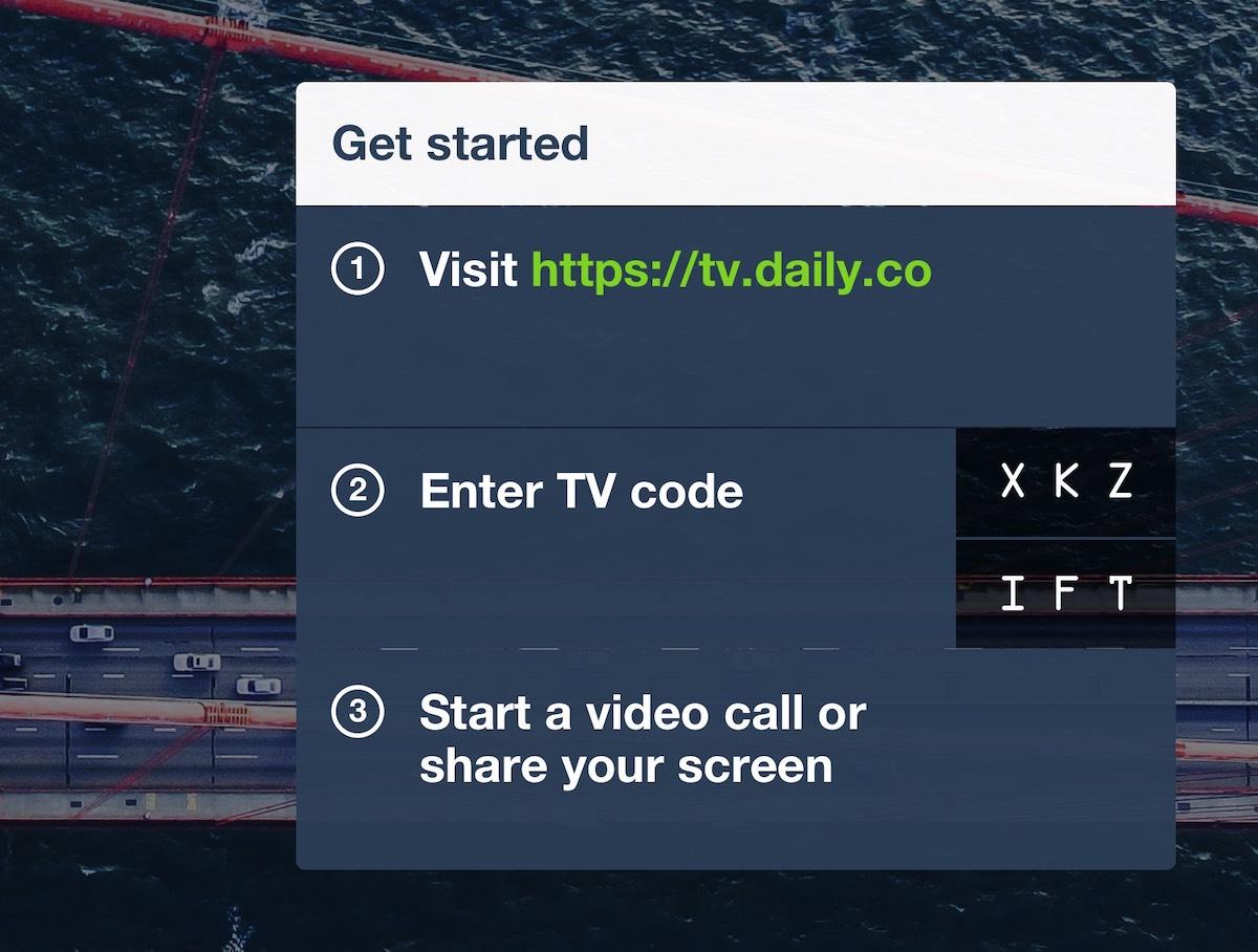 Daily.co TV Screencode