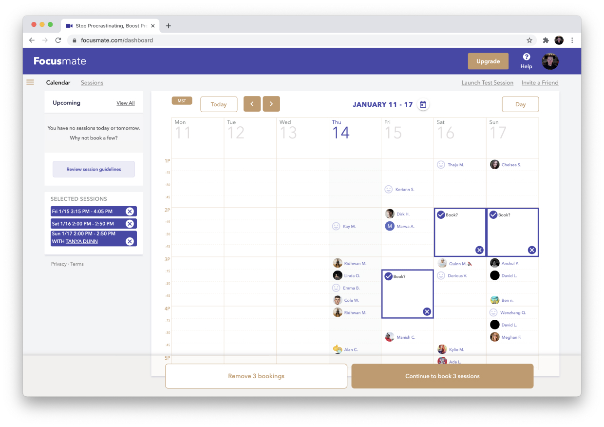Focusmate scheduling interface