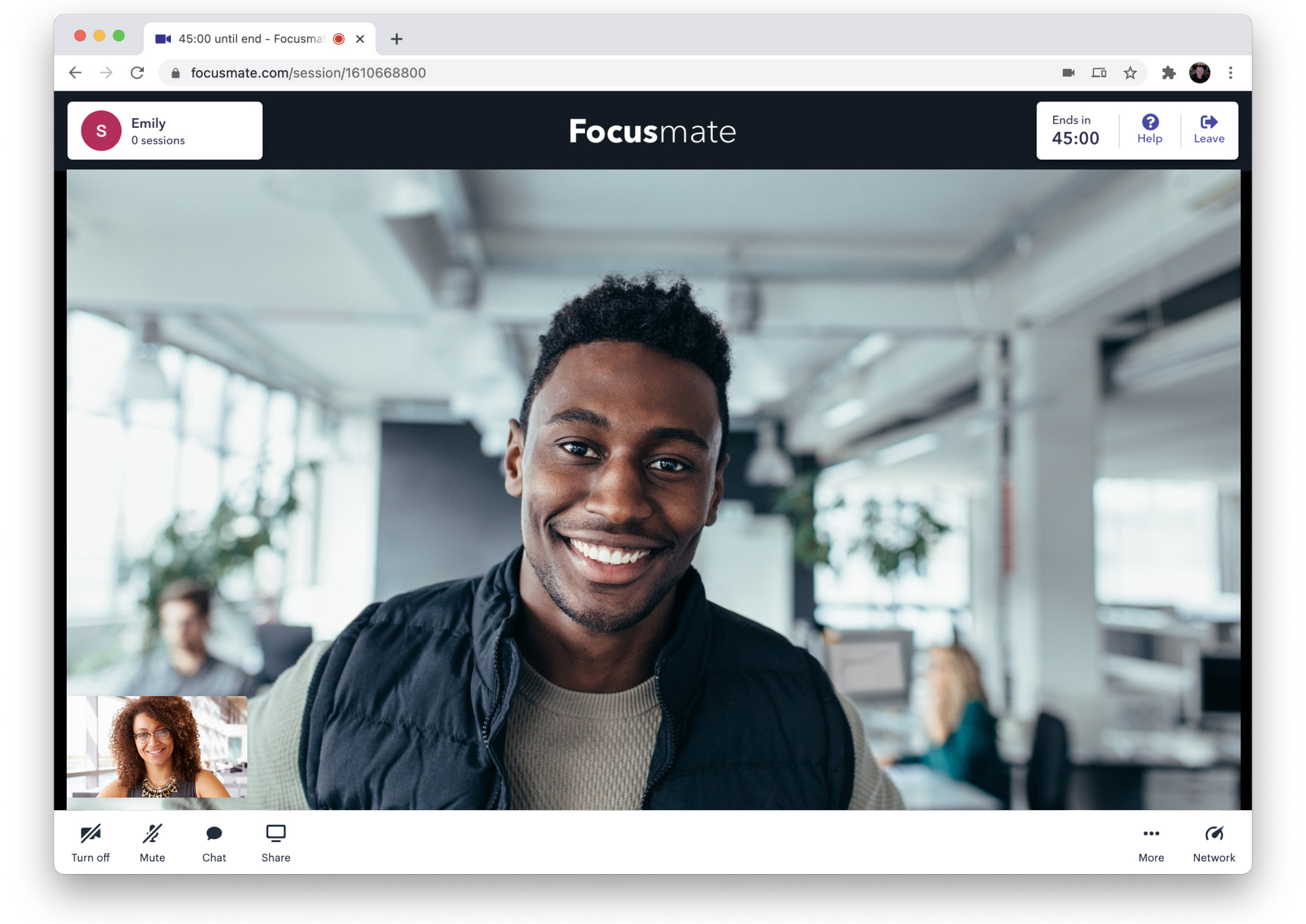 Focusmate video call with Daily prebuilt UI